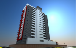 Multi-story corporate office tower 3d front view design dwg file