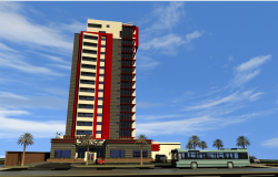 Multi-story departmental office tower 3d design view dwg file