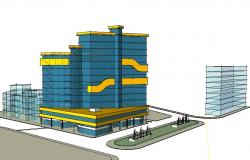 Multi-story high rise commercial cum corporate building 3d drawing details skp file