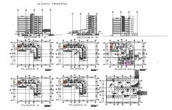 Multi-story hospital building elevation, section and floor plan details dwg file