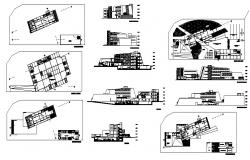 Multi-story hotel building all sided elevation, section, plan and auto-cad details dwg file