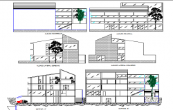Multi-story hotel building elevation and section details dwg file