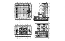 Multi-story hotel building section, distribution plan and auto-cad details dwg file