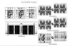 Multi-story housing main elevation and typical all floor plan details dwg file