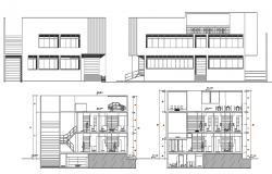 Multi-story local market elevation and sectional details dwg file