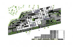 Multi-story luxuries hotel elevation and structure layout plan details dwg file