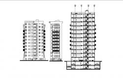 Multi-story mixed used high rise building elevation and section details dwg file