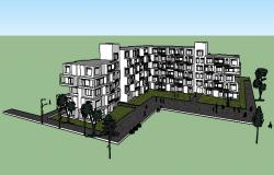 Multi-story multi-family residential building 3d drawing details skp file