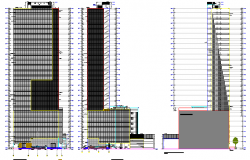 Multi-story office building all sided elevation view details dwg file