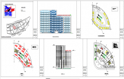 Multi story office building architecture floor plan and elevations detail