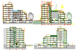 Multi-story office building elevations and sectional details dwg file