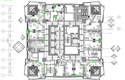 Multi-story office building ground floor plan details dwg file