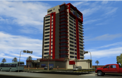 Multi-story office tower building 3d elevation design dwg file