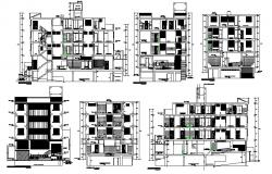 Multi-story residential apartment building all sided elevation and sectional details dwg file