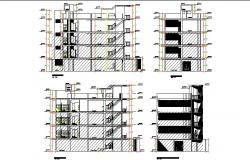 Multi-story residential building main elevation and all sided sectional details dwg file