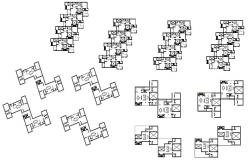 Multi-story residential flat floors distribution plan details dwg file