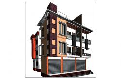 Multi-story residential flats with commercial 3d building cad drawing details rvt file