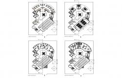 Multi-story school building four floors plan details dwg file