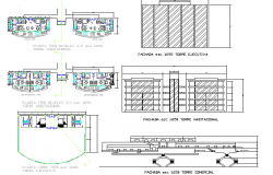 Multi-story shopping center architecture project dwg file