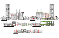 Multi-story shopping mall all sided elevation and sectional details dwg file