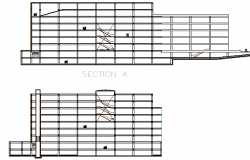 Multi-story shopping mall sectional view details dwg file