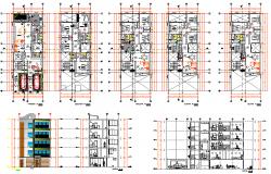 Multifamily Residence House Plan detail dwg file
