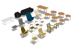 Multiple 3d chair, table and stool blocks cad drawing details dwg file