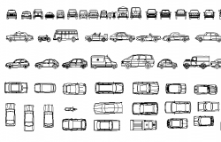 Multiple and multi-purpose car blocks design details dwg file
