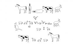 Multiple animal elevation blocks cad drawing details dwg file