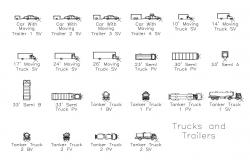Multiple cars and truck blocks cad drawing details dwg file