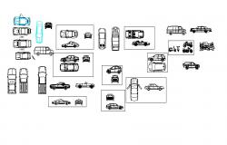 Multiple cars and two wheeler blocks cad drawing details dwg file