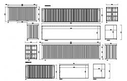 Multiple container elevation and section blocks dwg file