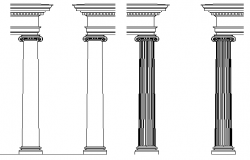 Multiple decorative column blocks design dwg file