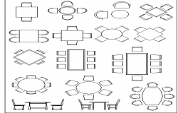 Multiple dining table design cad blocks details dwg file