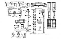 Multiple doors elevation and installation details dwg file