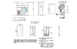Multiple doors elevation and installation details of hotel dwg file