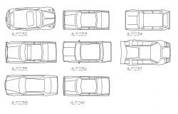 Multiple family cars roof view elevation blocks details dwg file