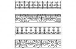 Multiple fence and railing blocks cad drawing details dwg file