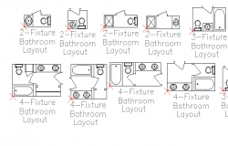 Multiple fixture bathroom layout design details dwg file