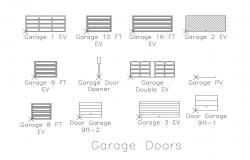 Multiple garage door elevation blocks cad drawing details dwg file