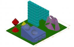 Multiple garden play equipment 3d blocks cad drawing details dwg file