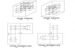 Multiple geometric figures drawing details dwg file