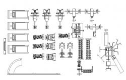 Multiple gym equipment blocks cad drawing details dwg file