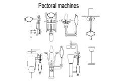 Multiple gym pectoral machine blocks cad drawing details dwg file