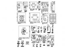 Multiple hospital blocks and furniture layout details dwg file