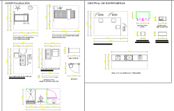 Multiple hospital equipment blocks details dwg file