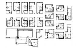 Multiple hotel bedroom distribution plan and auto-cad details dwg file