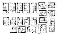 Multiple hotel rooms distribution plan cad drawing details dwg file