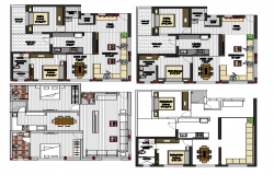 Multiple house architecture layout plan details dwg file