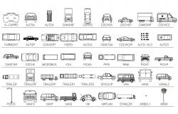 Multiple luxuries and family car blocks cad drawing details dwg file